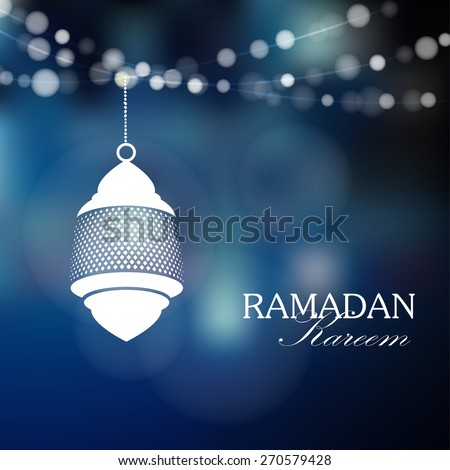 Illuminated arabic lamp, lantern with lights, vector illustration background for muslim community holy month Ramadan Kareem - stock vector