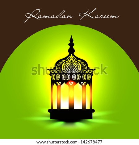 Illuminated Arabic lamp on shiny green background for holy month of muslim community Ramadan Kareem.