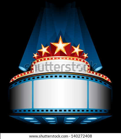 Illuminated cinema marquee - stock vector