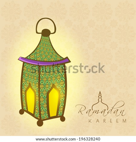 Illuminated colorful lantern on seamless floral pattern brown background for holy month of Muslim community Ramadan Kareem.