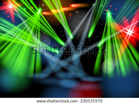 Illuminated empty stage, light show. Vector image. Smartly grouped and layered. Masks were used. - stock vector