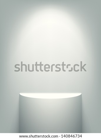 Illuminated exhibition shelf. EPS10 vector. - stock vector