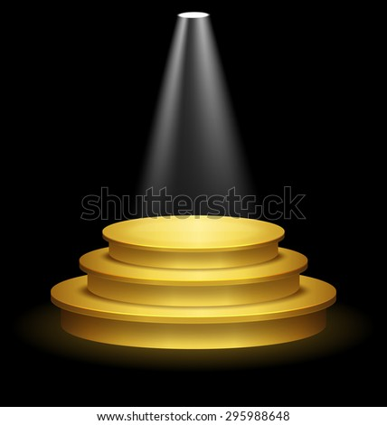 Illuminated Festive Golden Premium Stage Podium on Black Background  - stock vector