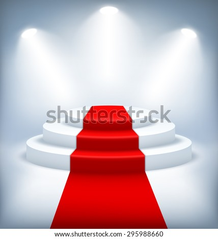 Illuminated Festive Stage Podium on White Background  - stock vector