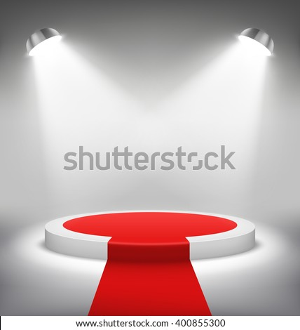 Illuminated Festive Stage Podium Scene with Red Carpet for Award Ceremony on White Background - stock vector