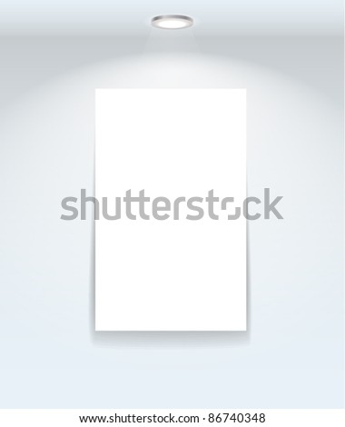 Illuminated frame on the wall. Ready for your content - stock vector