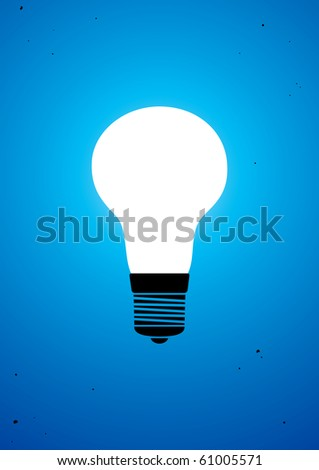 vector square blue icon lighting bulb. light bulb icon vector illuminated on blue background square lighting