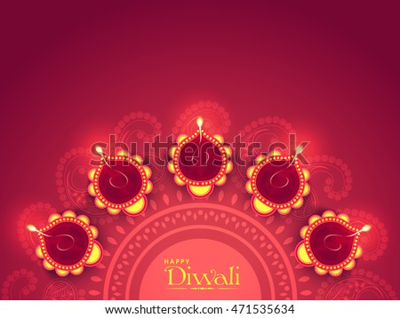 Illuminated Lit Lamps on beautiful floral Rangoli, Elegant Greeting Card, Creative Diwali Festive Background, Vector Illustration for Indian Festival of Lights Celebration.