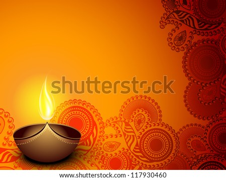Illuminated oil lamp on beautiful floral decorative background for Diwali festival celebration in India. EPS 10. - stock vector