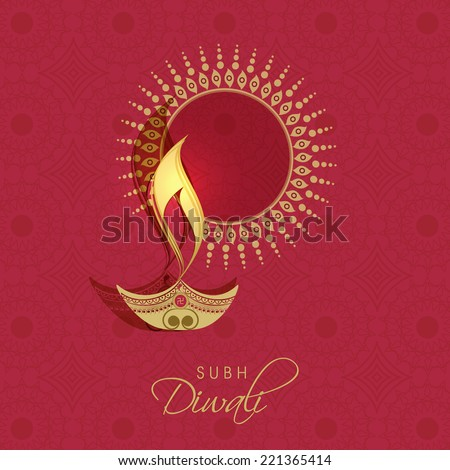 Illuminated oil lit lamp with rangoli and stylish text of Diwali for Diwali celebration on seamless bright maroon colour background. - stock vector