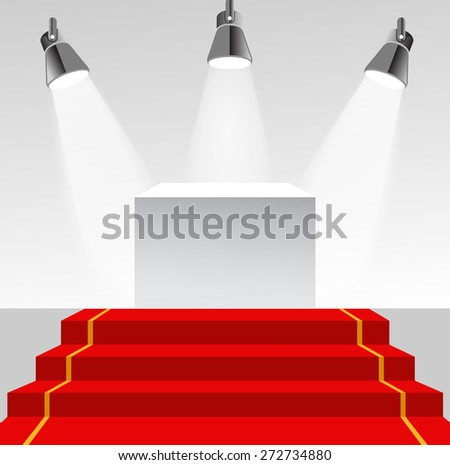 Illuminated pedestal with red carpet - stock vector
