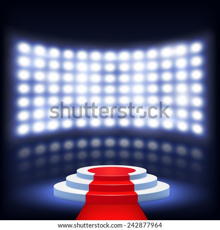 Illuminated Podium For Ceremony With Red Carpet. Vector Illustration. - stock vector