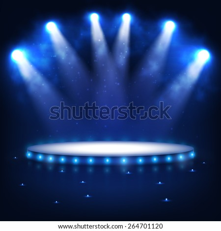 Illuminated Podium for Presentation in the Dark. Vector Illustration. - stock vector