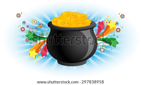 Illuminated Pot of Gold  - stock vector