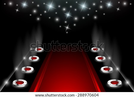 Illuminated Red Carpet - stock vector