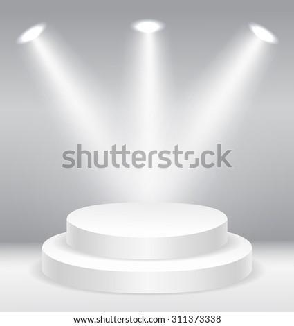 Illuminated round stage podium  vector illustration - stock vector
