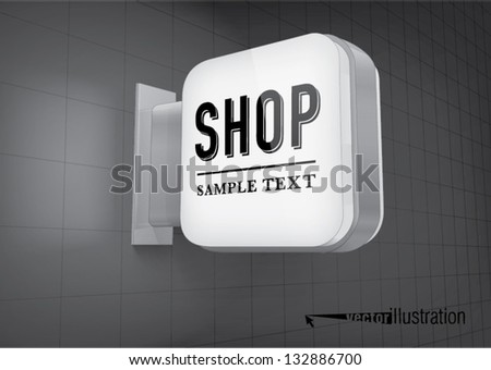 Illuminated shop signs light box, square with rounded corners - stock vector
