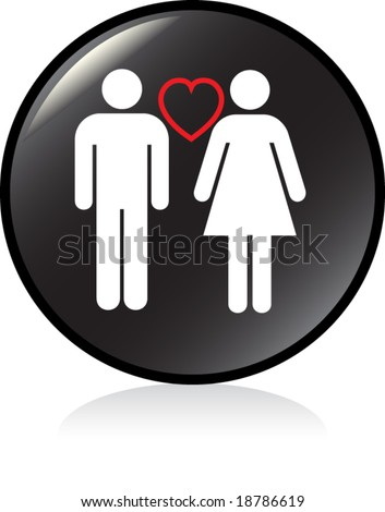illuminated sign - BLACK version - couple in love - stock vector