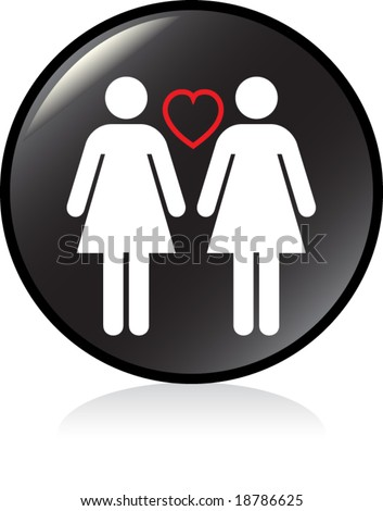 illuminated sign - BLACK version - gay women couple - stock vector