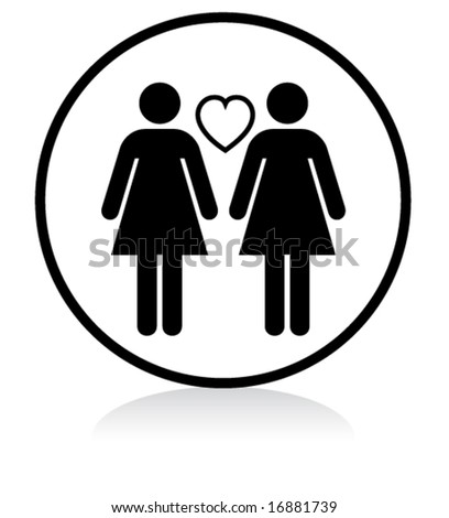 illuminated sign - WHITE version - gay women couple - stock vector