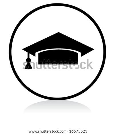 illuminated sign - WHITE version - graduation symbol - stock vector