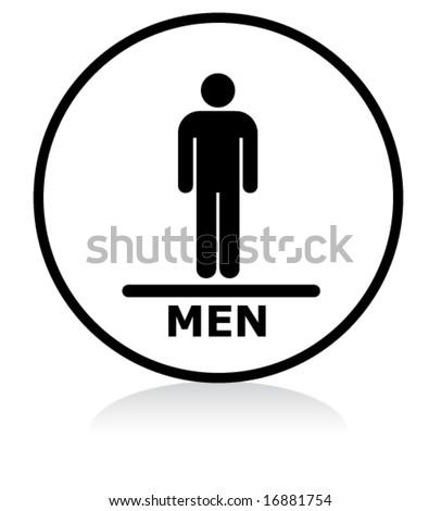 illuminated sign - WHITE version - men symbol - stock vector