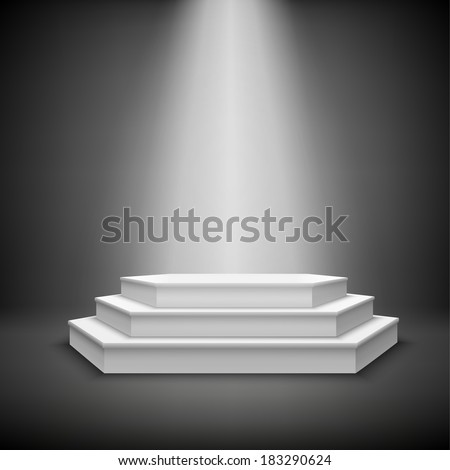 Illuminated stage podium for award ceremony show vector illustration - stock vector