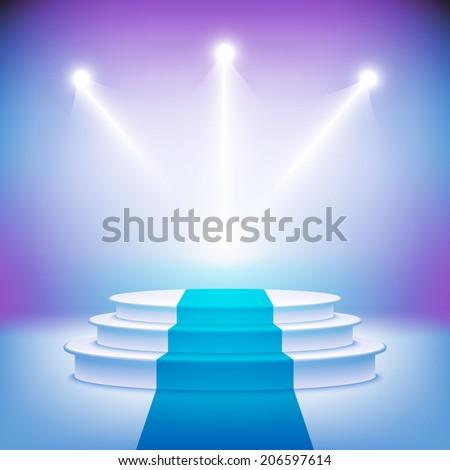 Illuminated stage podium for award ceremony vector illustration  - stock vector