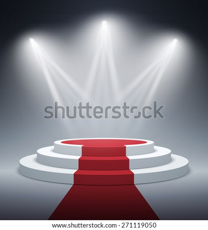 Illuminated stage podium for award ceremony. Vector illustration. - stock vector