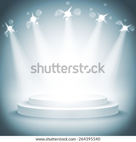 Illuminated stage podium for award ceremony vector illustration art - stock vector