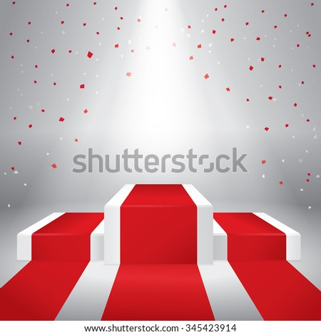 Illuminated stage podium with confetti  and red carpet. Vector illustration - stock vector