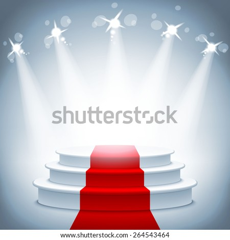 Illuminated stage podium with red carpet for award ceremony vector illustration - stock vector