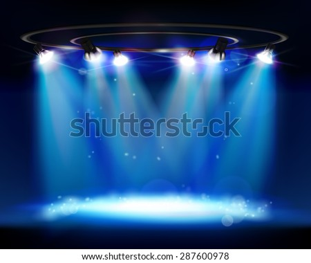 Illuminated stage. Vector illustration. - stock vector