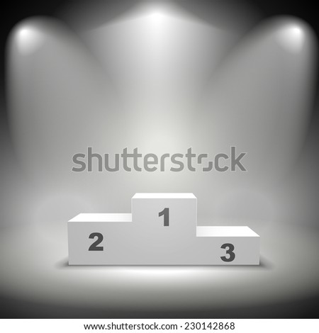 illuminated winners podium isolated on black background - stock vector