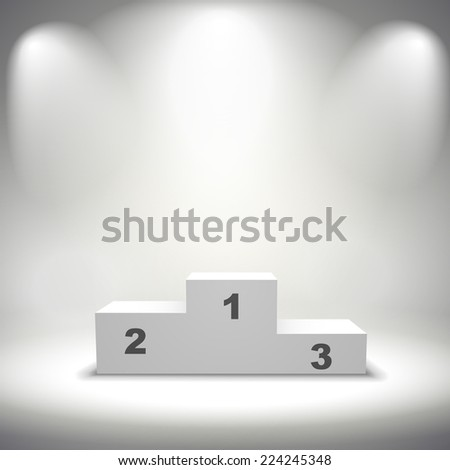 illuminated winners podium isolated on grey background - stock vector