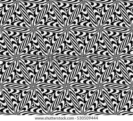 illusion art. seamless floral pattern. vector illustration. black, white color. for invitation, wallpaper