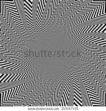 Illusion of rotation and torsion movement. Vector art. - stock vector