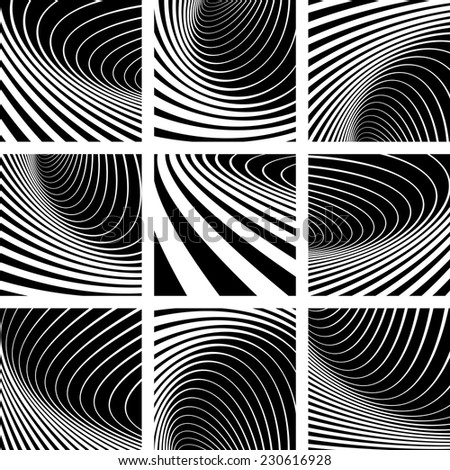 Illusion of whirl movement. Abstract backgrounds set. Vector art. - stock vector