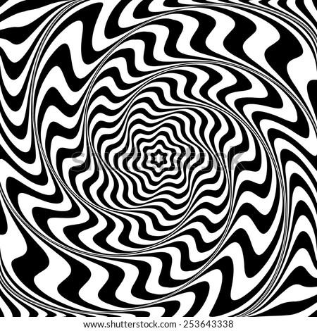 Illusion of  whirlpool movement. Abstract op art illustration. Vector art. - stock vector
