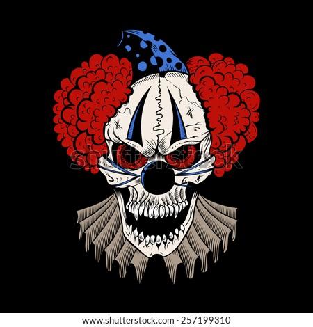 Illustartion of cartoon evil clown with hubcap. - stock vector