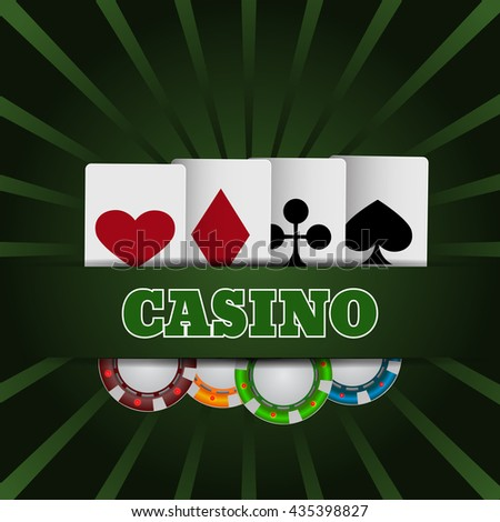 Illustartion of casino chip and card with place for text eps 10 vector