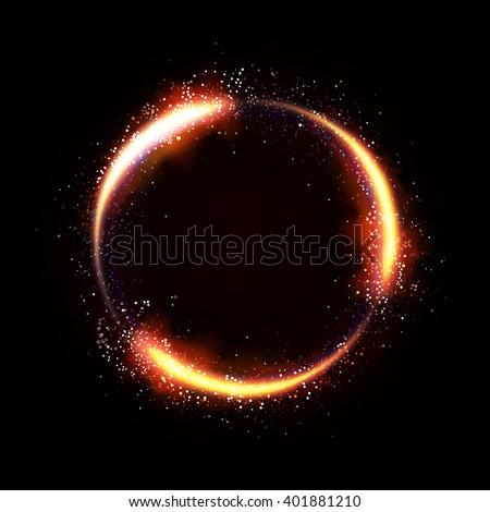 Illustartion of glittering star , dust circle ,glow , gold , lights. - stock vector