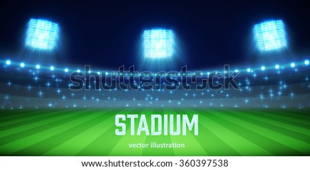 Illustartion of stadium with lights and tribunes eps 10 - stock vector