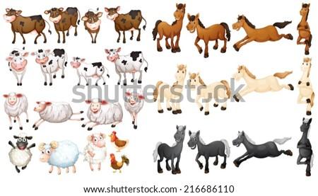 Illustraion of many type of farm animals - stock vector