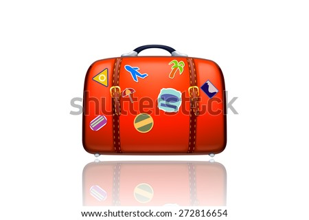 illustraion of old red suitcase on white background isolated - stock vector