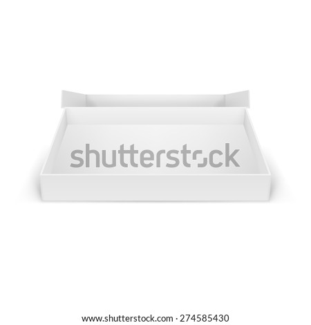 Illustraion of open white cardboard boxes, isolated for creative design - stock vector