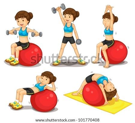 Illustraiton of girl doing exercises - stock vector