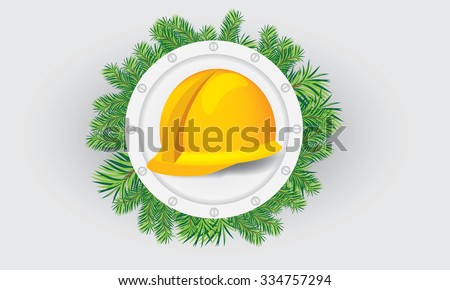 Illustrate vector construction cap, hardhat with christmas theme, in the middle of circle of fir-tree leafs - stock vector