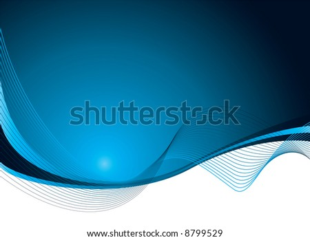 Illustrated abstract background with flowing blue lines with copy space