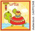 Illustrated alphabet letter T and turtle. - stock